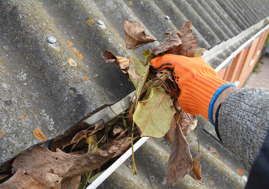 debris being cleaned out of gutters